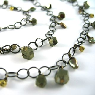 N0769 Gold mixed metals necklace w pyrite, freshwater pearl dangles