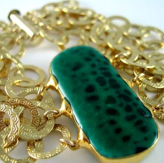 B0777 Green Onyx Rectangle with Gold Overlay Textured Circles Closeup A
