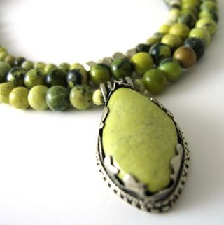 N0805 Green Tibetan Yellow Turquoise SS pendant on three strands